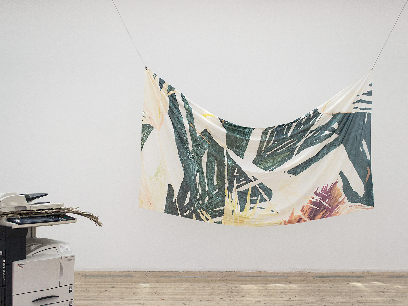Copycat Underdog (2013), at Malmö Konsthall, Malmö, Sweden. Installation view. The Palm (1912) (2012), Still Life 250 x 140 cm, print on cotton.
