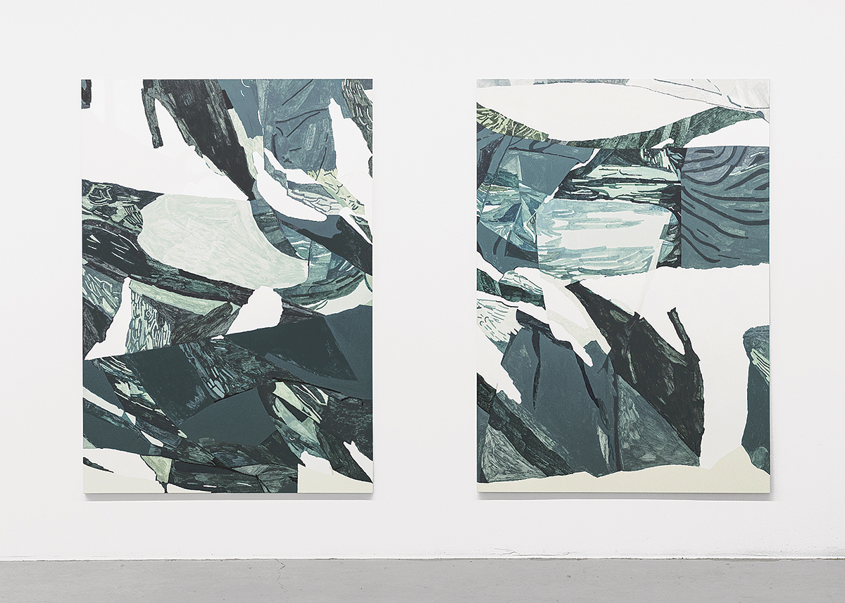 Endless Hunt (2016), at Galleri Thomassen, Gothenburg, Sweden. Installation view. Shirt (Folded) II-III (2016), 135 x 200 cm, acrylic and oil on canvas