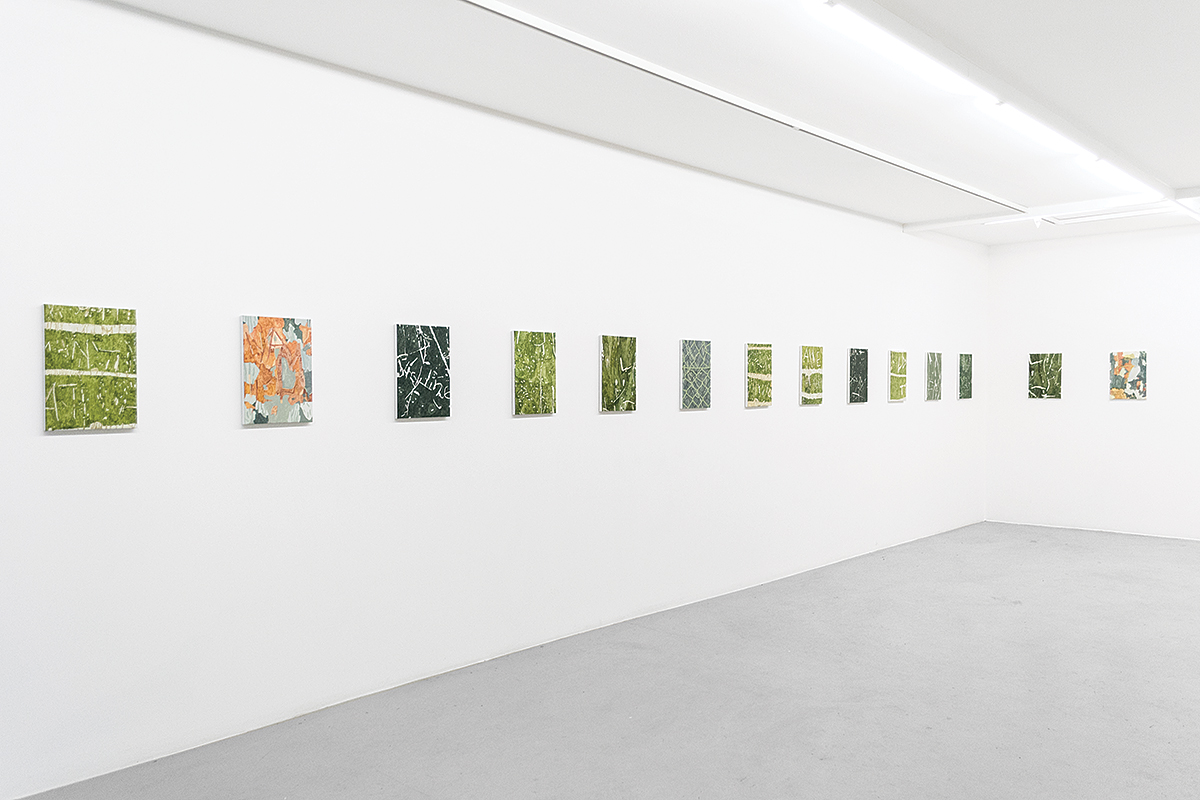 Endless Hunt (2016), at Galleri Thomassen, Gothenburg, Sweden. Installation view. Carvings (2015-2016), 29 x 42 cm, acrylic and oil on canvas.