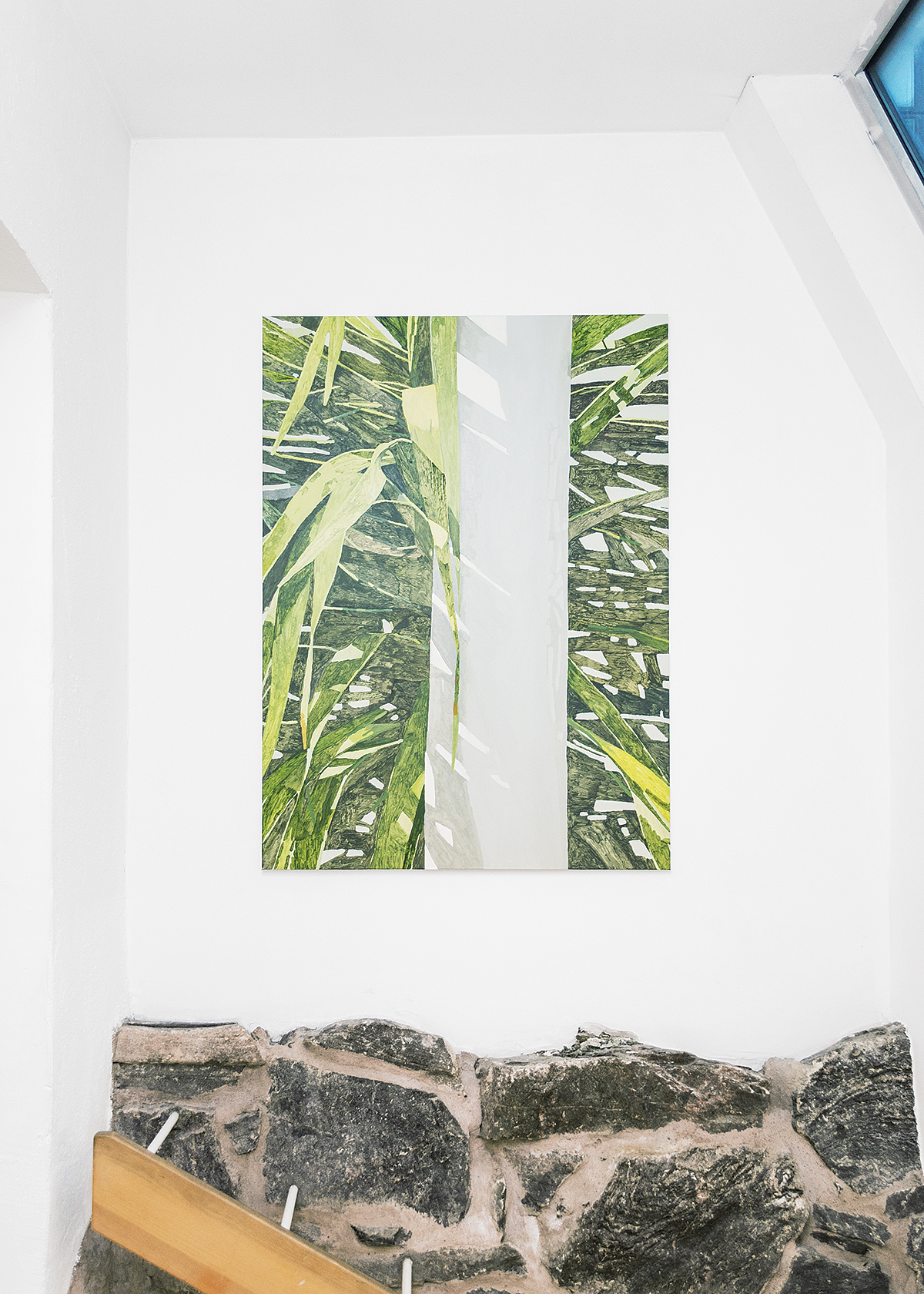Endless Hunt (2016), at Galleri Thomassen, Gothenburg, Sweden. Installation view. Garden (2015), 110 x 150 cm, acrylic and oil on canvas.