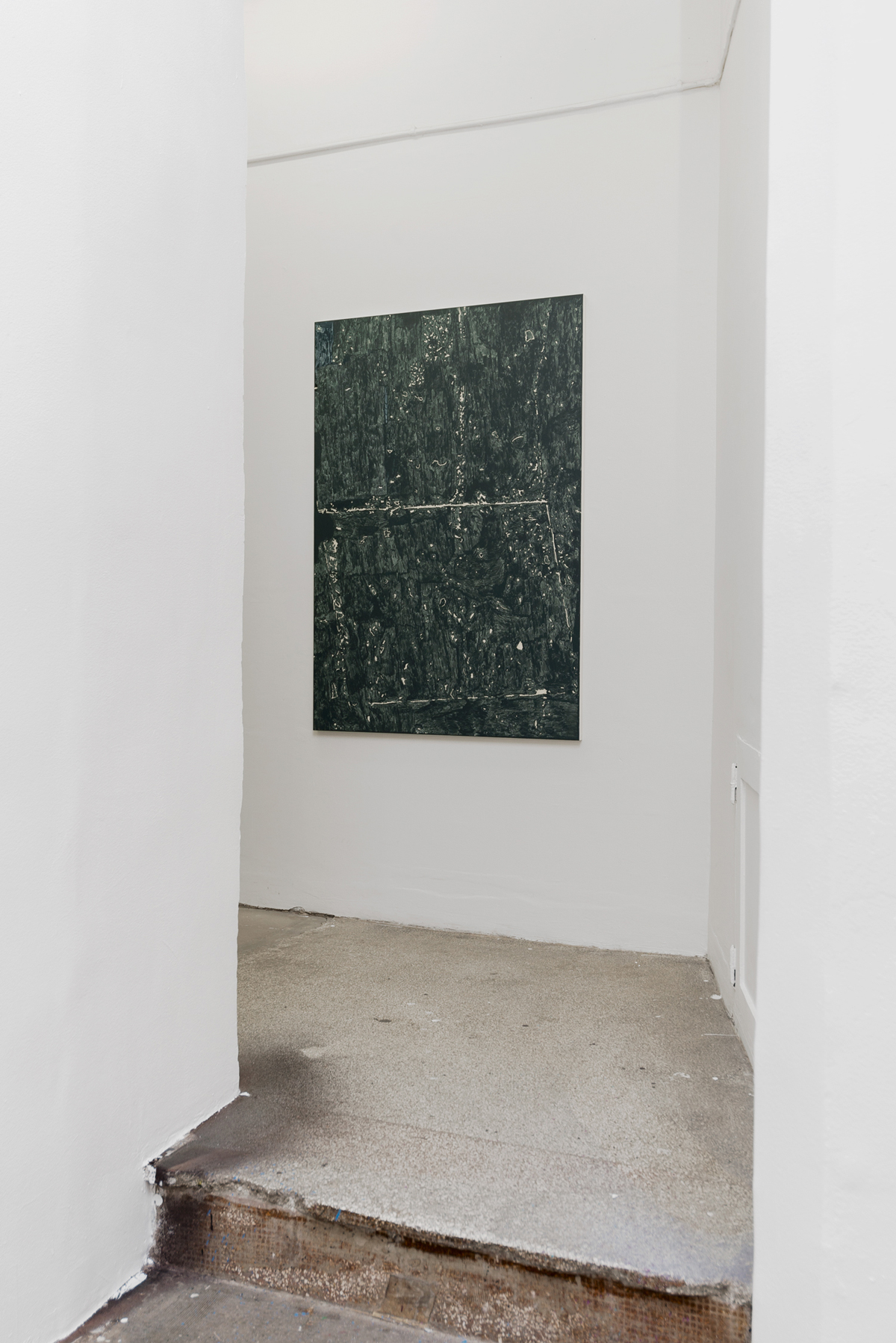 B-B-B-Bootlegs, installation view, Gallery Steinsland Berliner. Xerox Dust (2017), 90 x 130, acrylic on canvas.