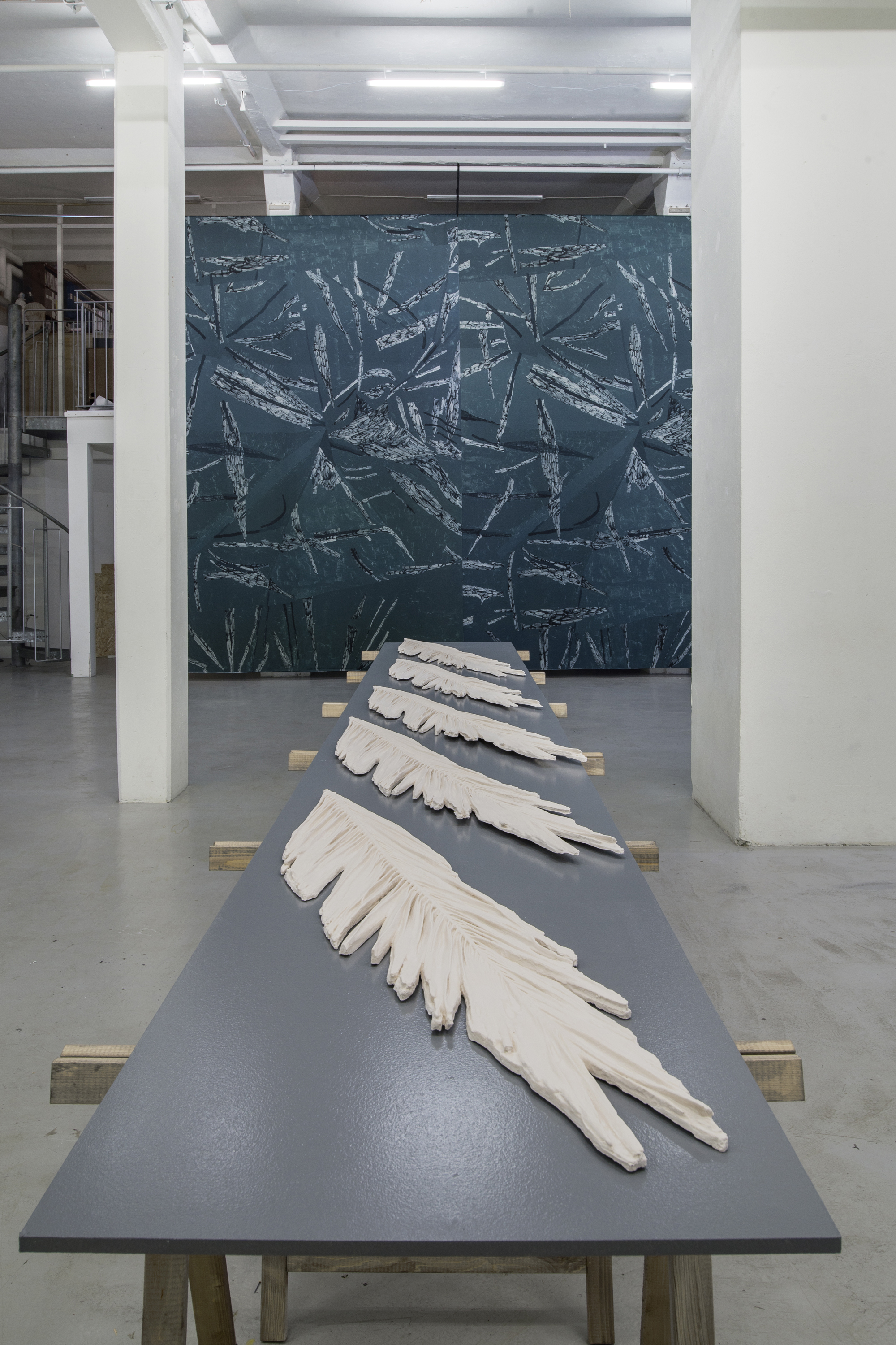 MCMXII (2017-2018), 123 x 25 cm, jesmonite. Installation view, solo exhibition Flatbed, at 3:e Våningen, Gothenburg.